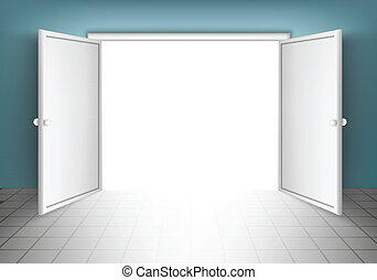 Open Doors, Isolated On Grey Background vector