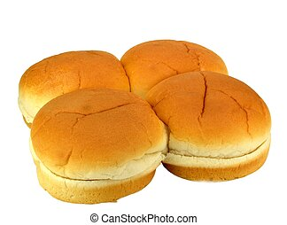 Hamburger buns - Four hamburger buns on a white background.