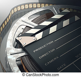 Motion Picture - Clapperboard with rolls of film in the...