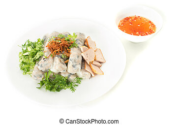Banh cuon, Vietnamese steamed rice noodle rolls and fish...