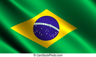 Brazil flag waving in the wind. Looping animation