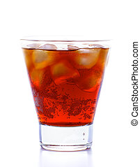 Cola with Ice - Glass with Cold Cola with Ice Cubes isolated...