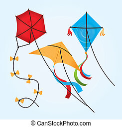 Kite design over blue background, vector illustration