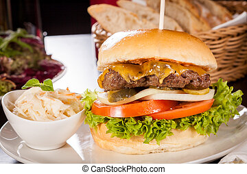 Cheeseburger with cole slaw - Tasty traditional cheeseburger...