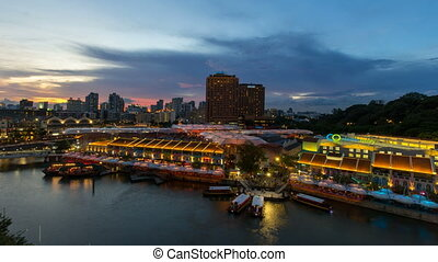 Sunset into Blue Hour Time Lapse - CLARKE QUAY, SINGAPORE -...
