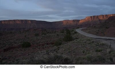 Utah Landscape at Sunset - Route 128 near Moab Utah at...