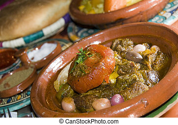 lamb tagine dinner in casablanca morocco - authentic lamb...