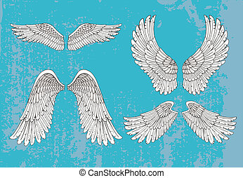 hand drawn white wings - Set of four pairs of hand-drawn...