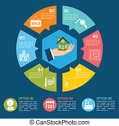 Real estate infographics - Real estate infographic set with...