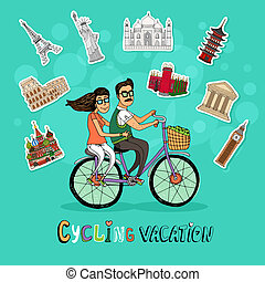 Couple on a Cycling Vacation riding a tandem bicycle...