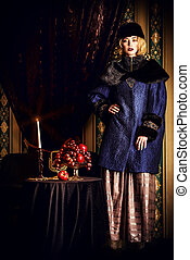 national costume - Gorgeous fashion model in a rich...
