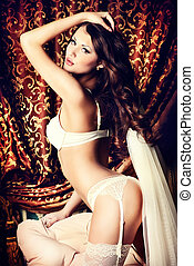 enticing bride - Attractive young woman alluring in sexual...