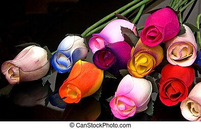 Beautiful Wood Roses Black Background - These colorful roses...