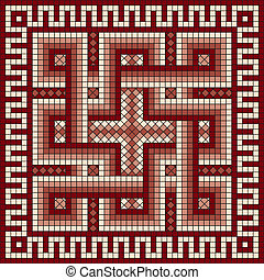 classic Greek meander ornament - vector mosaic with classic...