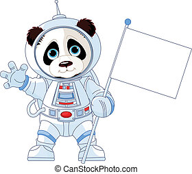 Astronaut Panda - Illustration of astronaut Panda holds...