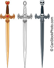 Three Swords - Three swords with rope bound handle and...