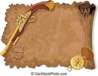 pirata, rúbrica, arma de fuego, compás