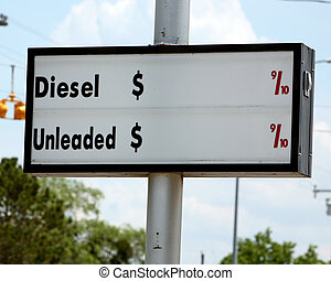 Fuel Prices - Sign for gas or diesel prices