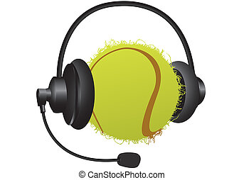 sports headphones - tennis ball with headphones on a white...
