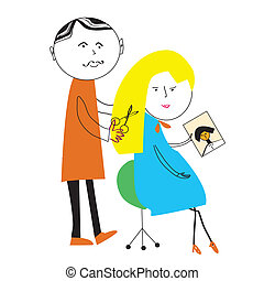 Hairdresser and woman cartoon funny scene  illustration