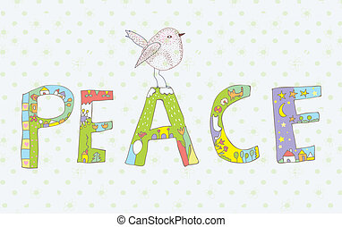 Peace background with sign and bird cute design