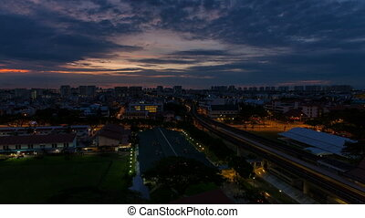 Time Lapse of Sunrise in Singapore - EUNOS, SINGAPORE - MAY...