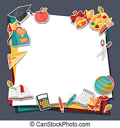 School background with education sticker icons and symbols.