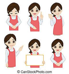 Movement of female salesperson