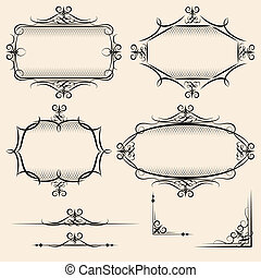 Four elegant vector vintage frames with shading detail and...