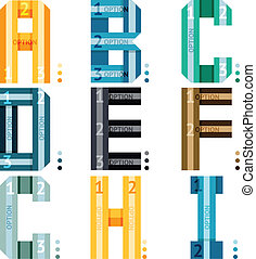 Alphabet letters with stripes and number options - Vector...