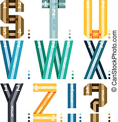 Alphabet letters of ribbons and lines - Vector alphabet...