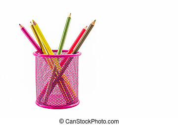 Colorful pencils in pink pail - Colorful pencils in pink...