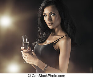 Happy Laughing Woman Drinking Champagne