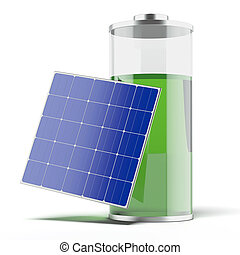 Battery charging with a solar panel isolated on a white...
