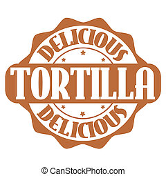 Delicious tortilla stamp or label on white, vector...