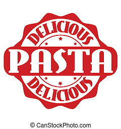 Delicious pasta stamp or label on white, vector illustration