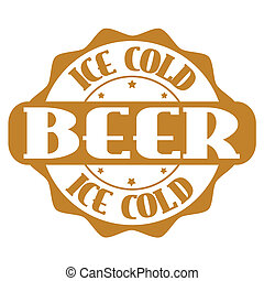 Ice cold beer stamp or label - Ice cold beer wines stamp or...