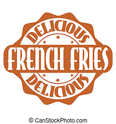 Delicious french fries stamp or label on white, vector...