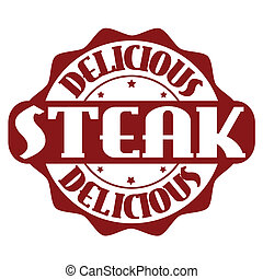 Delicious steak stamp or label