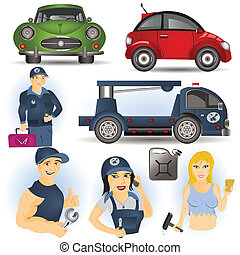 Car service set, vector illustration images.