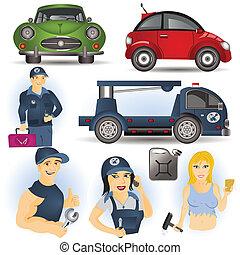 Car service set, vector illustration images.