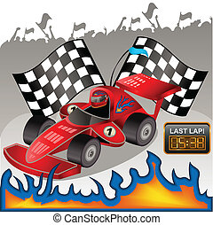 Racing car - Vector illustration of a racing car with flames...