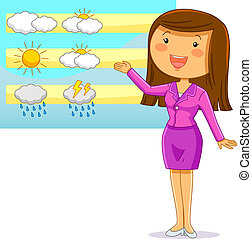weather reporter - happy cartoon weather reporter