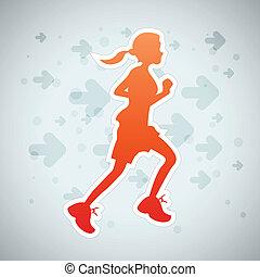 Girl Running - Vector illustration of a girl running...