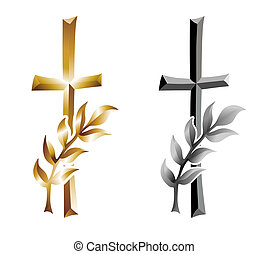 grief - grave cross with ear as condolence template