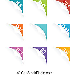 Web Page Curl Set - Vector illustration of web page curl...