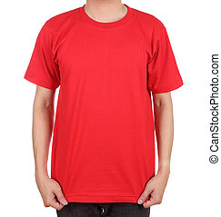 blank t-shirt on man - blank red t-shirt on man front side...
