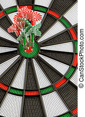 Dart board with darts - Closeup of dart board with darts
