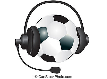 sports headphones - soccer ball with headphones on a white...