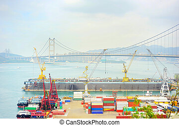 Hong Kong port - Hong Kong comercial container port . Tsing...